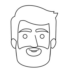 Monochrome contour of man face with hair and beard vector