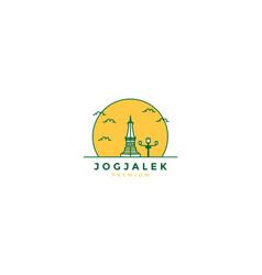 Monument yogyakarta line abstract logo icon vector