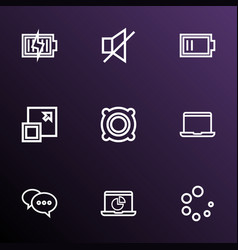 Music icons line style set with monitor low vector