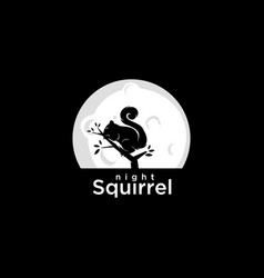 night squirrel logo vector image