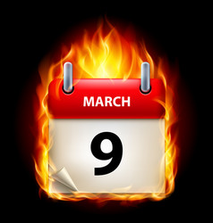 Ninth march in calendar burning icon on black vector