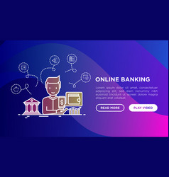 online banking concept man with virtual wallet vector image