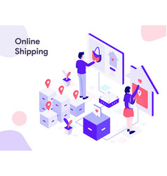 online shipping isometric modern flat design vector image