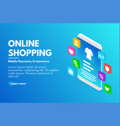online shopping concept isometric smartphone with vector image