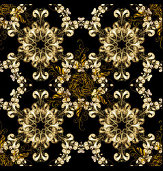 oriental ornament seamless pattern on black vector image