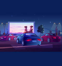 outdoor cinema open air movie theater with cars vector image