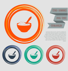 Porridge icon on the red blue green orange vector