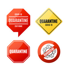 realistic detailed 3d quarantine sign set vector image
