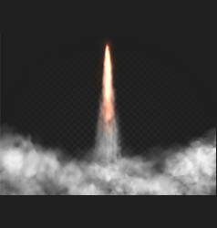 realistic rocket launch trail with smoke vector image