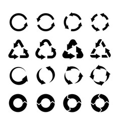 Recycling icons black circle arrows environmental vector