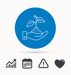 Save nature icon hand with plant sprout sign vector