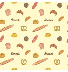 Seamless of Bread and bakery vector image