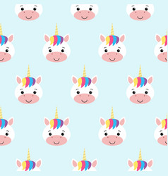 seamless pattern with rainbow unicorns blue vector image