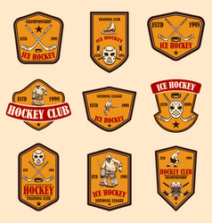 set hockey club emblems design element for vector image