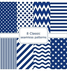 Set of 8 classic seamless patterns vector image