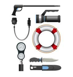 Set of diving equipment vector