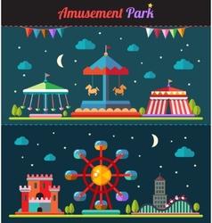 Set of flat design composition with amusement park vector