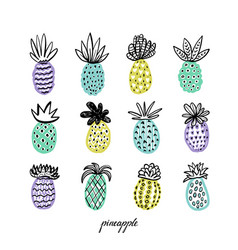 Set of pineapples hand drawn decorative pinapple vector