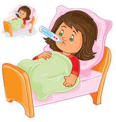 sick little girl lies in bed with a vector image