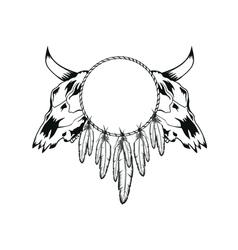 skulls bull and tambourine vector image