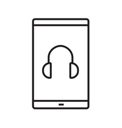smartphone music player linear icon vector image