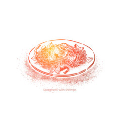 Spaghetti with shrimps boiled noodles with vector