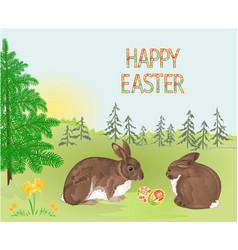 spring landscape forest easter rabbits vector image