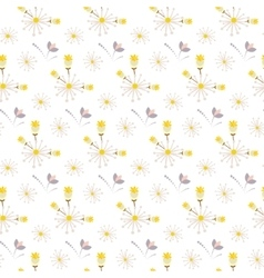 Spring wild flower yellow and beige field seamless vector