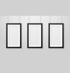 three realistic modern interior black blank vector image
