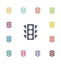 Traffic light flat icons set vector