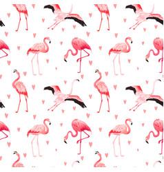 tropical flamingo hearts seamless summer pattern vector image