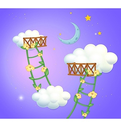 Two plant ladders going to the sky vector