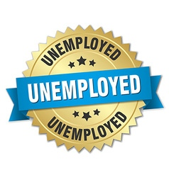unemployed 3d gold badge with blue ribbon vector image