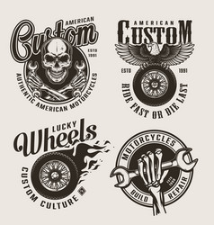 vintage monochrome custom motorcycle labels vector image