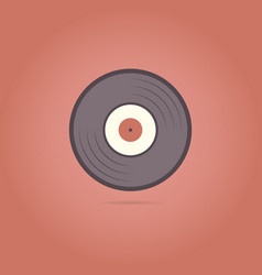 vinyl record icon on a red background vector image