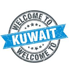 Welcome to kuwait blue round vintage stamp vector
