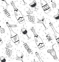 wine doodle pattern vector image
