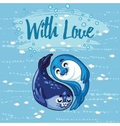 Yin Yang seal pups vector image
