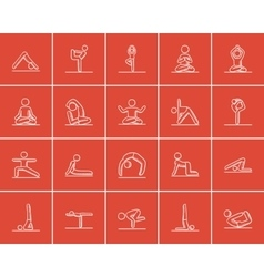 Yoga sketch icon set vector image