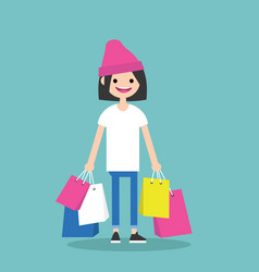 Young trendy girl holding shopping bags flat vector