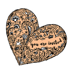 zentangle hand drawn heart text you are invited vector image