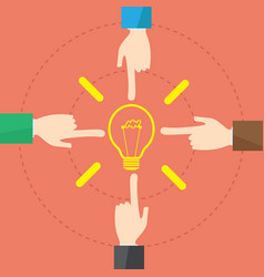 concept businessman hand and bulb light idea vector image vector image