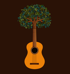 guitar tree live music nature concept vector image vector image