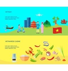 Vietnamese Culture 2 Horizontal Flat Banners vector image