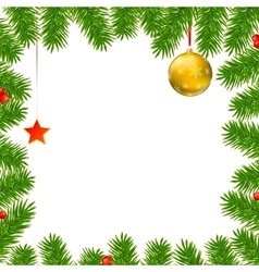 Christmas background with fir branches red vector