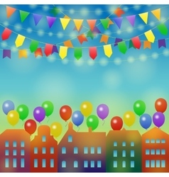 City holiday background with balloon vector