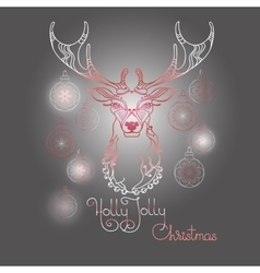 Hand drawn deer and handwritten words Holly Jolly vector image vector image