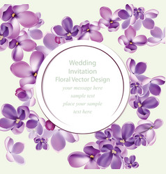 spring delicate lilac flowers bouquet card vector image