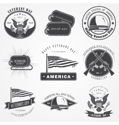 Happy veterans day set Independence day The vector image