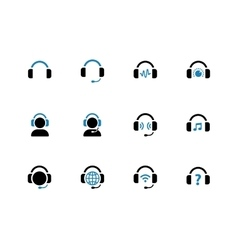 Headphone duotone icons on white background vector image